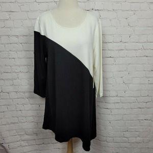Alfani Asymmetrical Colorblock 3/4Sleeve Tunic Top